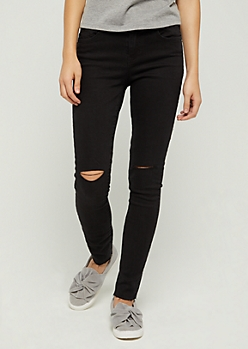 Black Slit Knee Raw Cut Skinny Jean in Regular