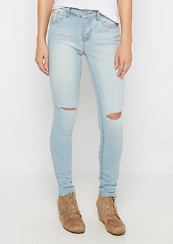 Light Slit Knee Raw Cut Skinny Jean in Regular