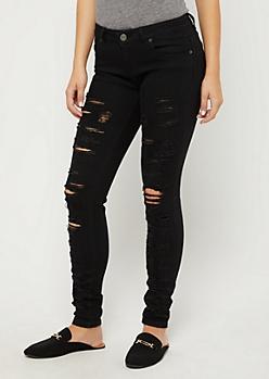 Black Shredded Skinny Jean in Regular