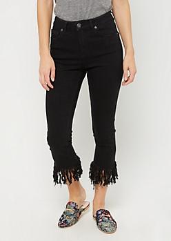 Black Fringed Skinny Jean