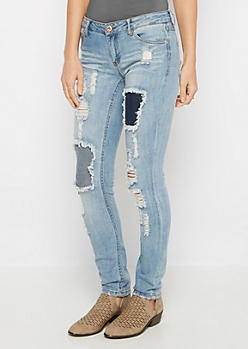Destroyed & Repaired Skinny Jean