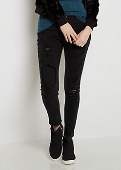 Black Ripped & Stitched Jegging