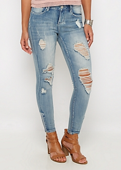 Vintage Destroyed Zipped Ankle Skinny Jean