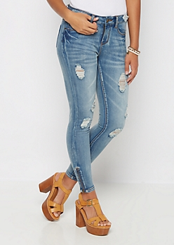 Destroyed Zipped Ankle Skinny Jean