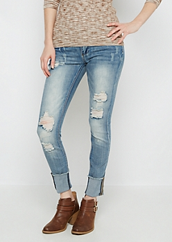 Flex Destroyed & Cuffed Skinny Jean