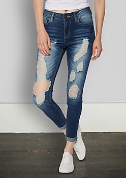 Frayed Vintage High Rise Skinny Boyfriend in Regular