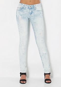 Distressed Acid Washed Skinny Jean