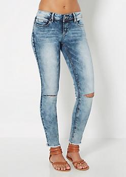 Split Knee Acid Washed Skinny Jean