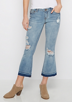 Destroyed Flex Cropped Flare Jean