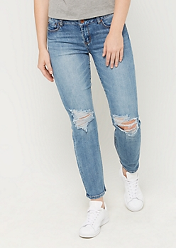 Medium Blue Distressed Straight Jean in Regular