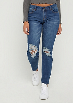 Dark Blue Distressed Straight Jean in Regular