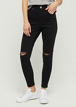 Black Slit Knee Xtra High Rise Skinny Jean in Regular