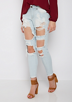 Light Blue Blown Out Jegging in Regular