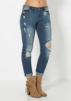 Crackled & Cuffed Skinny Jean by Wild Blue x Sadie Robertson™