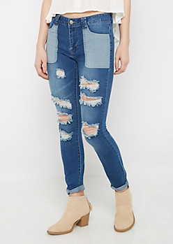 Destroyed Patchwork Jegging By Sadie Robertson X Wild Blue