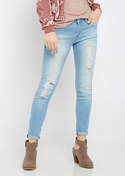 Light Blue Destroyed Cropped Jegging