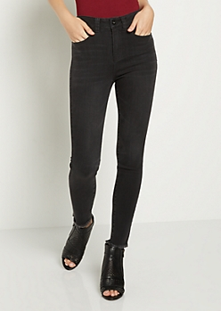 Black Washed Xtra High Rise Ankle Skinny Jean in Regular