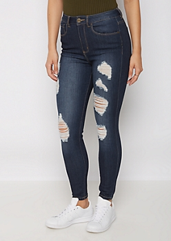 Dark Blue Destroyed Xtra High Rise Ankle Jegging in Regular