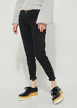 Black Mid Rise Ring Frayed Ankle Jegging