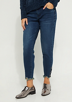 Dark Blue Mid Rise Ring Frayed Ankle Jegging