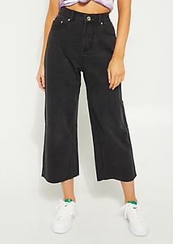 Black High Rise Wide Leg Jeans