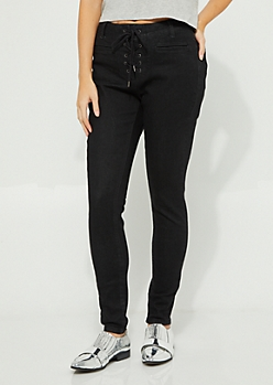 Black Lace Up High Rise Jeggings