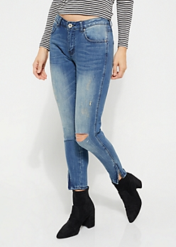 Medium Blue Distressed Zip Ankle Jeggings in Regular