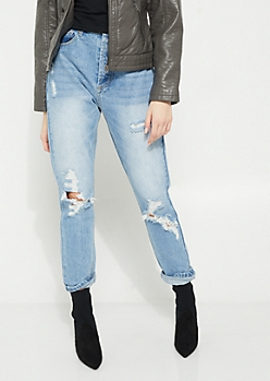 Vintage Destroyed High Rise Straight Jean in Regular