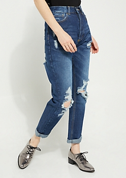 Dark Wash Destroyed High Rise Straight Jeans in Regular