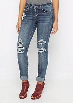 Flex Destroyed Low Rise Jegging in Curvy