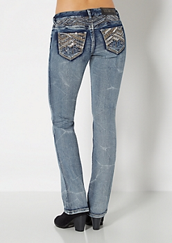 Sequined Pocket Slim Boot Jean in Curvy