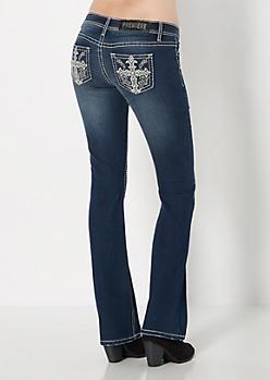 Handset Crystal Crosses Slim Boot Jean in Curvy