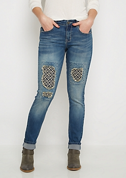 Flex Aztec Patched Skinny Jean in Curvy