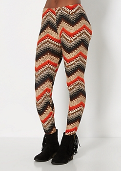 Earthy Chevron Brushed Legging