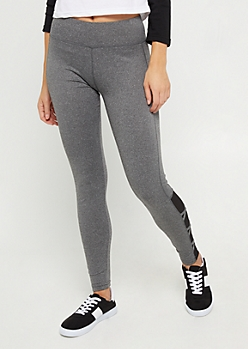 Heather Gray Mesh Lattice Ankle Legging