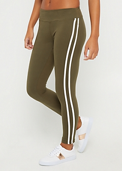 Olive Varsity Striped Legging