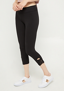 Black Lattice Ankle Capri Legging
