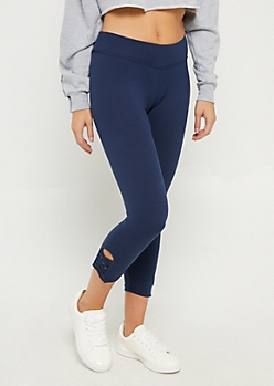 Navy Lattice Ankle Capri Legging