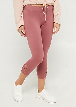 Dusty Pink Lattice Ankle Capri Legging