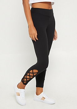 Black Lattice Ankle Capri Legging