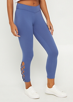 Blue Lace Up Ankle Legging