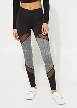 Black & Gray Colorblock Panel Mesh High Rise Legging