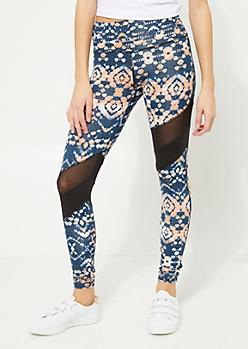 Blue Asymmetrical Mesh Stripe Leggings