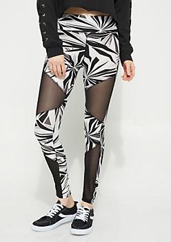 Black & White Mesh Insert Legging