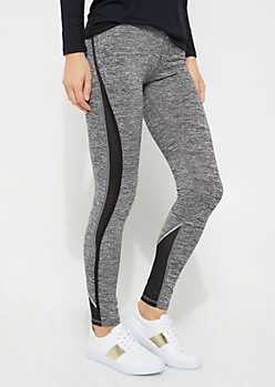 Gray Space Dye Mesh Insert Legging