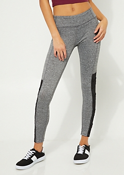 Gray Stretch Lattice Strap Mesh Leggings
