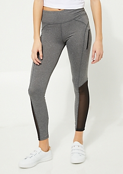 Heather Gray Stretch Zip Mesh Leggings