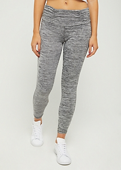 Gray Space Dye Lattice Ankle Legging