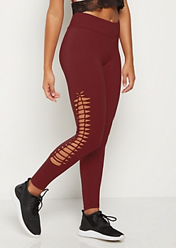 Burgundy Macrame Soft Knit Legging