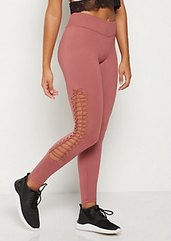 Dusty Pink Macrame Soft Knit Legging